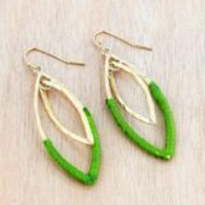 Green Fabric-Wrapped Marquise Earrings